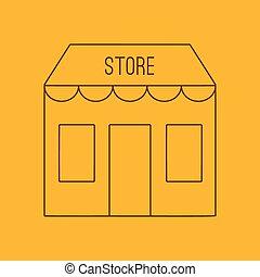 Store building line icon