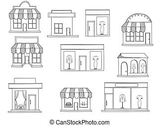 Store buildings coloring book vector - Store isolated on...