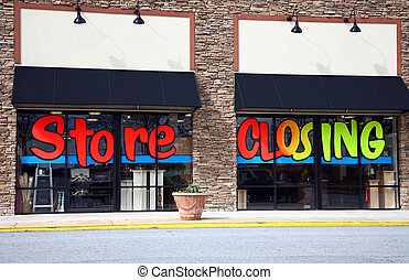 Store closing and going out of business - The front of a ...