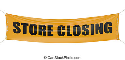 store closing concept isolated on white background