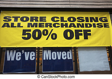 Store closing - everything must go. 50% off.