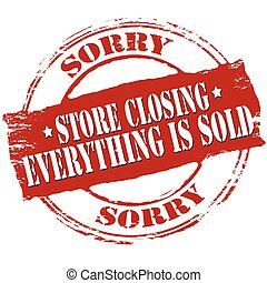 Rubber stamp with text store closing inside, vector illustration
