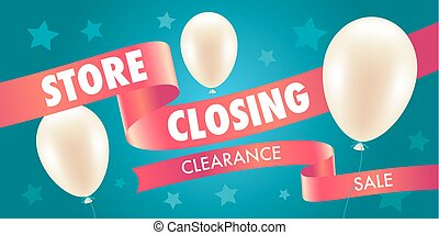Store closing sale vector illustration, background with air...