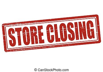 Stamp with text store closing inside, vector illustration