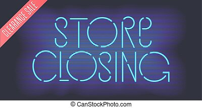 Store closing vector banner, illustration