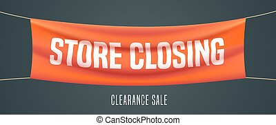 Store closing vector illustration, background. Template banner, design element for clearace sale