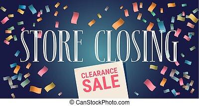 Store closing vector illustration