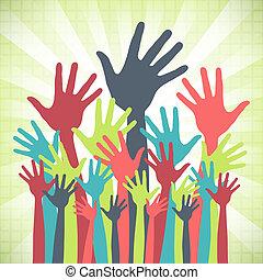store, design., glade, gruppe, hænder