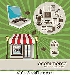 store design over grunge background vector illustration
