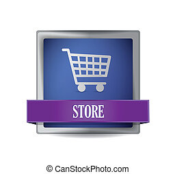 store E-commerce icon illustration design