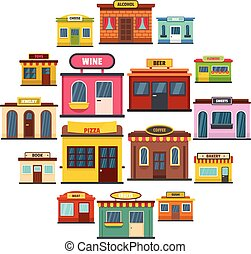 Store facade front shop icons set, flat style