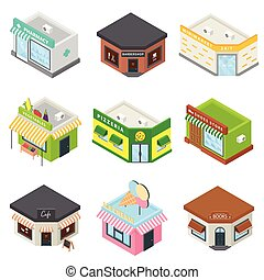 Store facade front shop icons set, isometric style