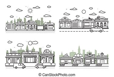 Store Front City Building Street Road Traffic Line Art Outline