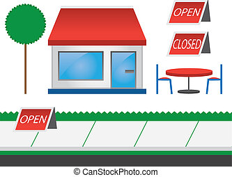 Store shop front with red awning