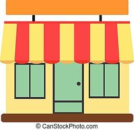 store front, shop and market.