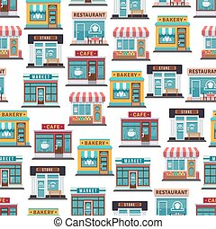 Store fronts seamless pattern - cafe, restaurant, market