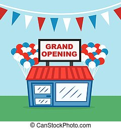 Store Grand Opening - Store with grand opening sign and...