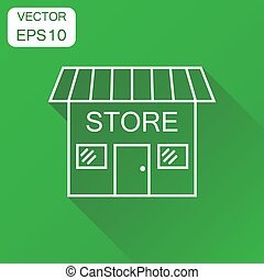 Store icon. Business concept market store pictogram. Vector illustration on green background with long shadow.