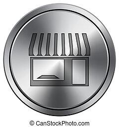 Store icon. Round icon imitating metal.