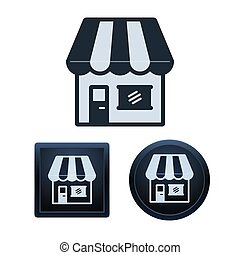 Store icon set, isolated vector illustrations - Simple and...
