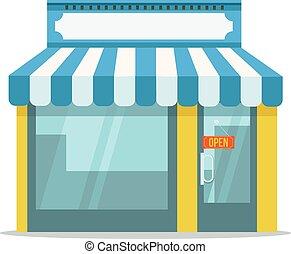 Store icon. Shop icon. Vector shop flat cartoon icon...