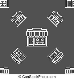 Store icon sign. Seamless pattern on a gray background. Vector