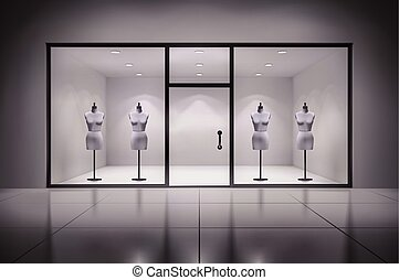 Store Interior With Mannequins - Realistic 3d store showcase...