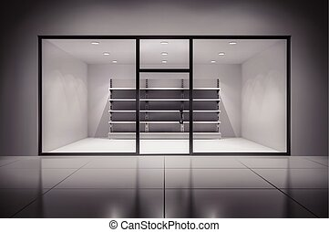 Store Interior With Shelves - Realistic 3d store interior...