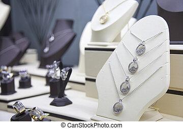 store., joyas, exhibición