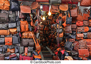 Store leather bags and products on the market in Jerusalem, Israel.