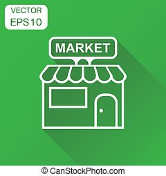 Store market icon. Business concept shop build pictogram. Vector illustration on green background with long shadow.