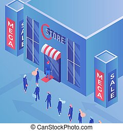 Store mega sale isometric vector illustration. Consumerism, shopping, advertisement and marketing, promo campaign color drawing. Buyers in queue, shop discounts and special offers for clients