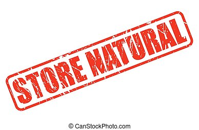 STORE NATURAL red stamp text on white
