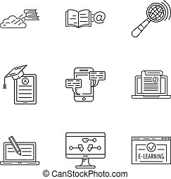 Store of knowledge icons set, outline style
