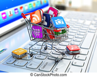 Store of laptop software. Apps icons in shopping cart. 3d
