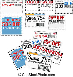 Store sale coupons for savings ads - Clip this group of six...