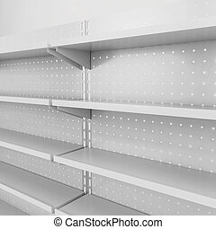 Store shelves. 3d illustration isolated on white background