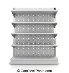 Store shelves. 3d illustration isolated on white background