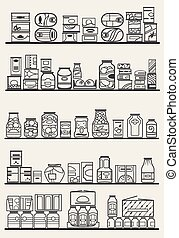 store shelves with goods - store shelves with different...