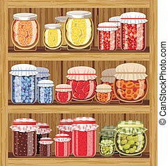 Store shelves with jam