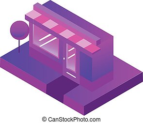 Store, shop, cafe. Vector isometric icon in gradient violet and pink colors. For e-commerce and retail design