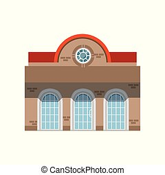 Store shop front window building, public building facade vector Illustration