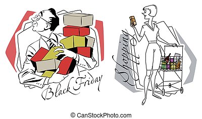 store., shopping., esseri umani, illustration., casato