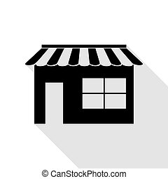 Store sign illustration. Black icon with flat style shadow path.