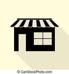 Store sign illustration. Flat style black icon on white.