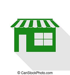 Store sign illustration. Green icon with flat style shadow path.