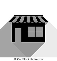 Store sign illustration. Vector. Black icon with two flat gray shadows on white background.