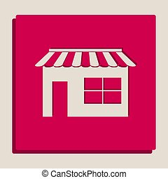 Store sign illustration. Vector. Grayscale version of Popart-style icon.
