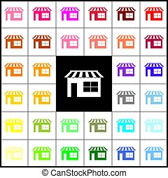 Store sign illustration. Vector. Felt-pen 33 colorful icons at white and black backgrounds. Colorfull.