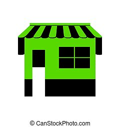 Store sign illustration. Vector. Green 3d icon with black side